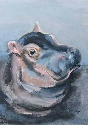 Painting - Baby Hippo Safari Animal Painting by Donna Tuten