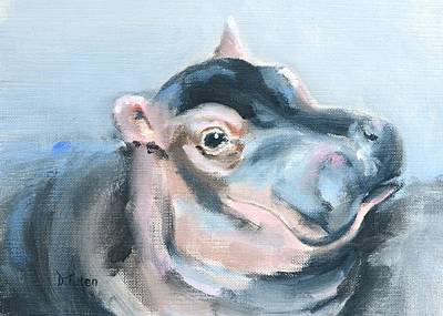 Painting - Baby Hippo Safari Animal Painting Horizontal Format by Donna Tuten