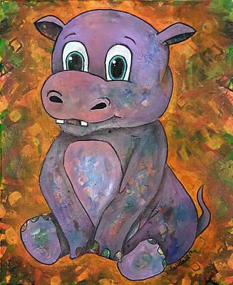 Mixed Media - Baby Hippo by Sandra Wallace