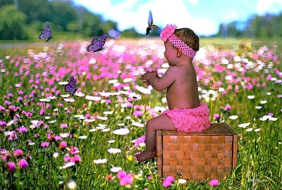 Photograph - Baby In A Field Of Flowers by Ericamaxine Price