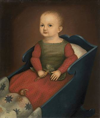 Crying Painting - Baby In Blue Cradle by American 19th Century