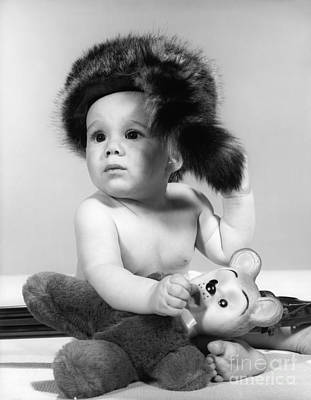 Baby In Coonskin Hat, C.1960s Art Print