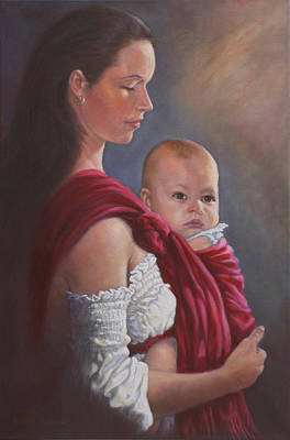 Painting - Baby In Rebozo by Harvie Brown