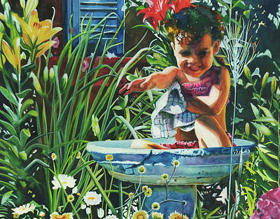 Painting - Baby In The Birtbath by Maureen Dean