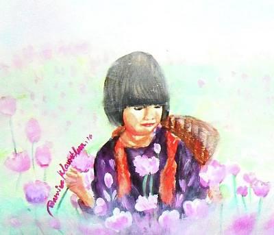 Painting - Baby In The Flower Garden by Wanvisa Klawklean