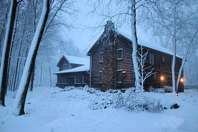 Log Cabin Photograph - Baby Its Cold Outside by Kristin Elmquist
