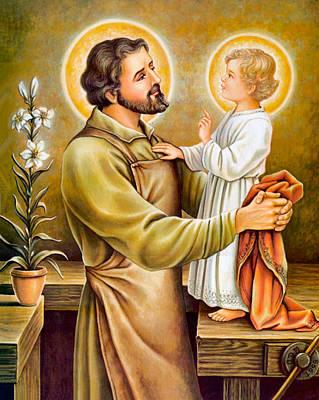 Baby Jesus Talking To Joseph Art Print