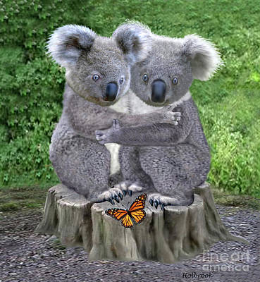 Koala Digital Art - Baby Koala Huggies by Glenn Holbrook