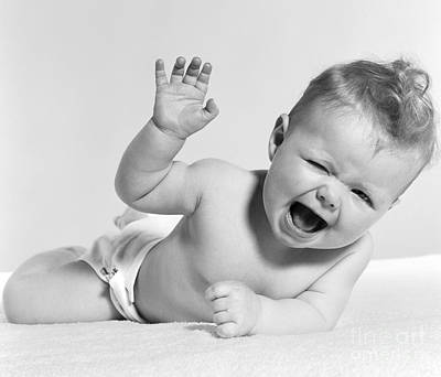Diaper Photograph - Baby Laughing, Hand In Air, C.1950s by H. Armstrong Roberts/ClassicStock