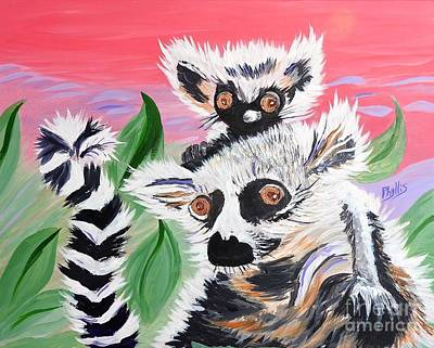 Painting - Baby Lemur Atop Mama by Phyllis Kaltenbach