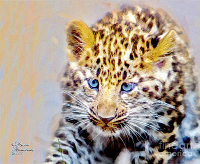 Mixed Media - Baby Leopard by David Millenheft