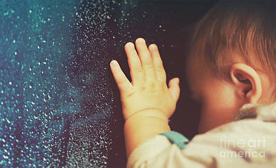 Photograph - Baby Looking Through Rainy Window by Anna Om