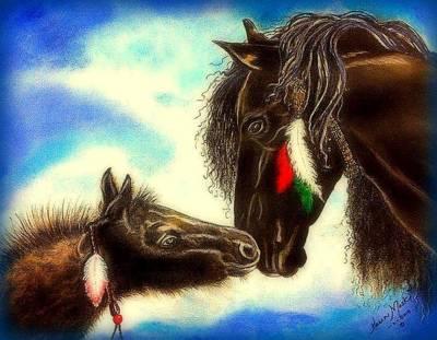 Peruvian Horse Painting - Baby Love by Karen Mask