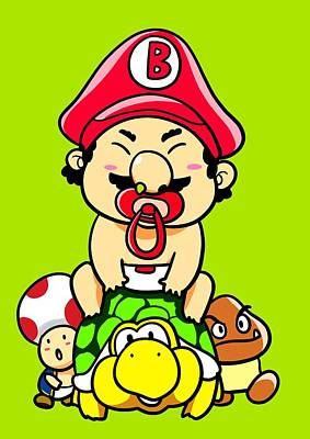Kids Art Digital Art - Baby Mario And Friends by Paws Pals