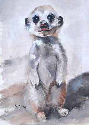 Painting - Baby Meerkat Safari Animal Painting by Donna Tuten