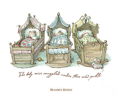 Mice Drawing - The Brambly Hedge Baby Mice Snuggle In Their Cots by Brambly Hedge