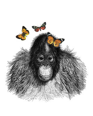 Orangutan Digital Art - Baby Monkey With Orange Butterflies by Madame Memento