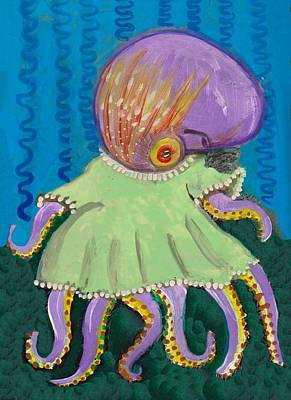 Baby Octopus In A Dress Art Print by JoLynn Potocki
