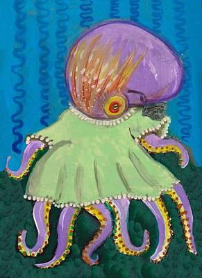 Baby Octopus In A Dress Art Print