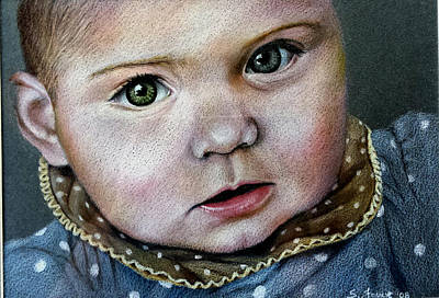 Susan Conner Drawing - Baby On Black by Susan Conner