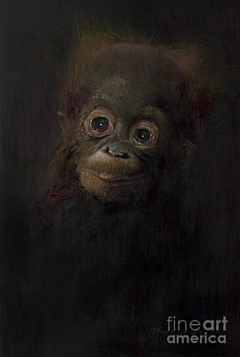 Orangutan Wall Art - Painting - Baby Orangutan  One by Odile Kidd
