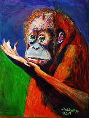 Orangutan Drawing - Baby Orangutan by Robert Walkama