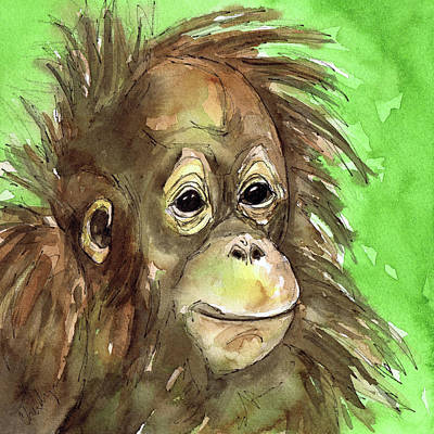 Orangutan Painting - Baby Orangutan Wildlife Painting by Cherilynn Wood