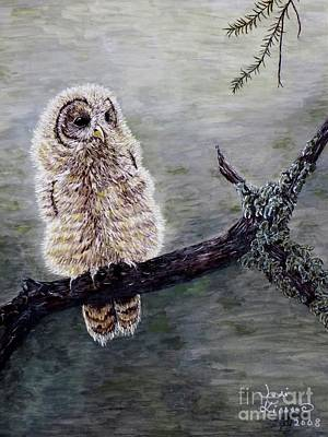 Art Print featuring the painting Baby Owl by Judy Kirouac