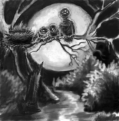 Great Horned Owl Drawing - Baby Owls Hissing At Me by Dawn Senior-Trask