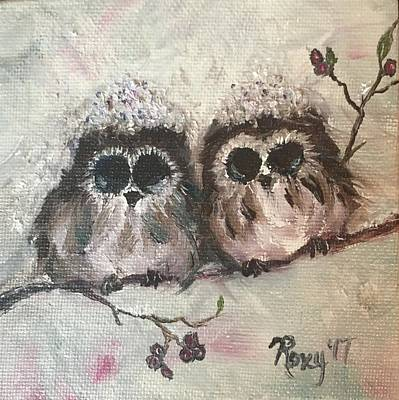 Animals Painting - Baby Owls In The Snow by Roxy Rich