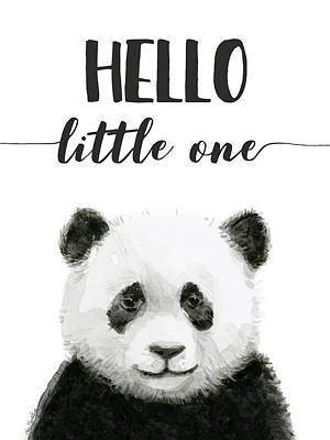 Panda Illustration Painting - Baby Panda Hello Little One Nursery Decor by Olga Shvartsur