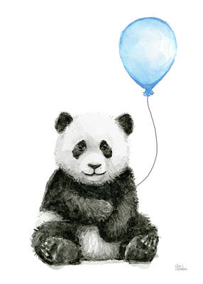 Panda Bears Painting - Baby Panda With Blue Balloon Watercolor by Olga Shvartsur