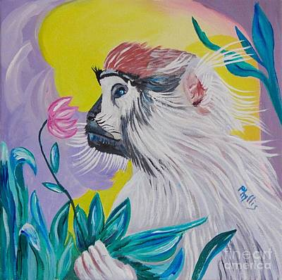 Painting - Baby Patas Monkey And His Flower by Phyllis Kaltenbach