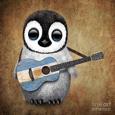 Adorable Digital Art - Baby Penguin Playing Argentinian Flag Guitar by Jeff Bartels
