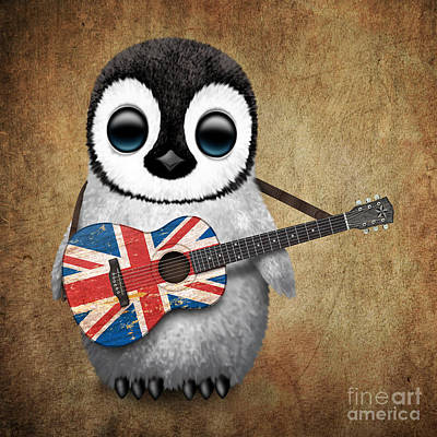 Baby Penguin Playing British Union Jack Flag Guitar Art Print