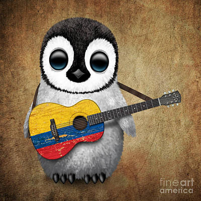 Adorable Digital Art - Baby Penguin Playing Colombian Flag Guitar by Jeff Bartels