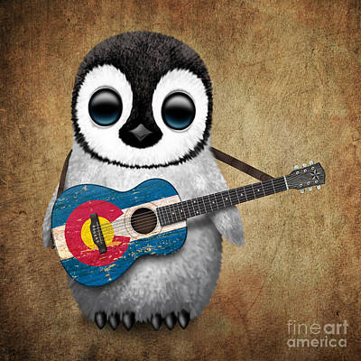 Baby Penguin Playing Colorado Flag Guitar Art Print by Jeff Bartels