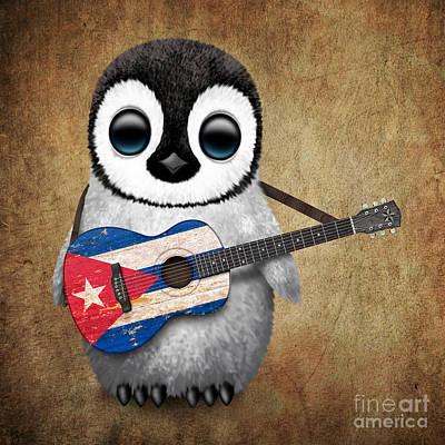 Adorable Digital Art - Baby Penguin Playing Cuban Flag Guitar by Jeff Bartels