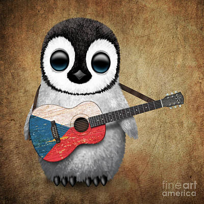 Adorable Digital Art - Baby Penguin Playing Czech Flag Guitar by Jeff Bartels
