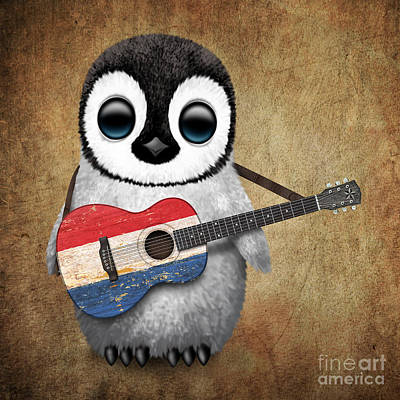 Jeff Digital Art - Baby Penguin Playing Dutch Flag Guitar by Jeff Bartels