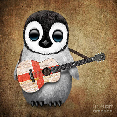Jeff Digital Art - Baby Penguin Playing English Flag Guitar by Jeff Bartels