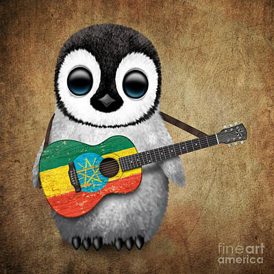 Jeff Digital Art - Baby Penguin Playing Ethiopian Flag Guitar by Jeff Bartels