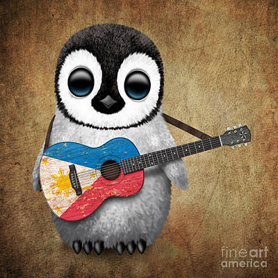 Jeff Digital Art - Baby Penguin Playing Filipino Flag Guitar by Jeff Bartels