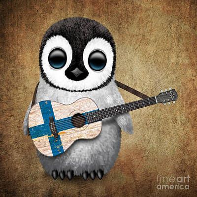 Adorable Digital Art - Baby Penguin Playing Finnish Flag Guitar by Jeff Bartels