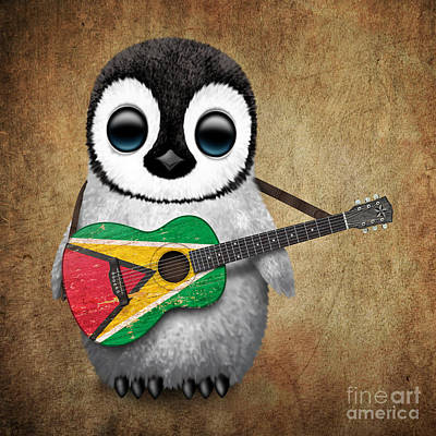 Jeff Digital Art - Baby Penguin Playing Guyanese Flag Guitar by Jeff Bartels