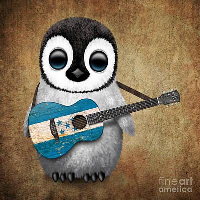 Adorable Digital Art - Baby Penguin Playing Honduran Flag Guitar by Jeff Bartels