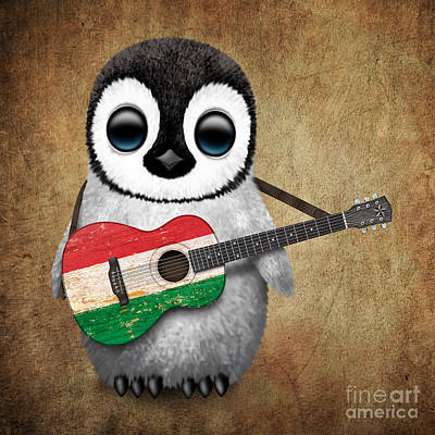 Jeff Digital Art - Baby Penguin Playing Hungarian Flag Guitar by Jeff Bartels