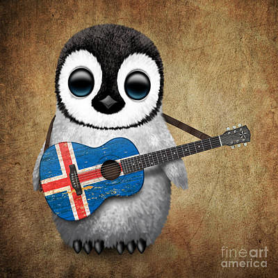 Jeff Digital Art - Baby Penguin Playing Icelandic Flag Guitar by Jeff Bartels