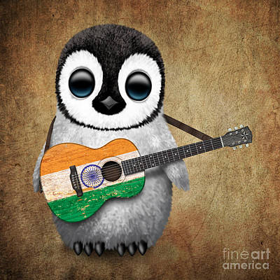 Jeff Digital Art - Baby Penguin Playing Indian Flag Guitar by Jeff Bartels