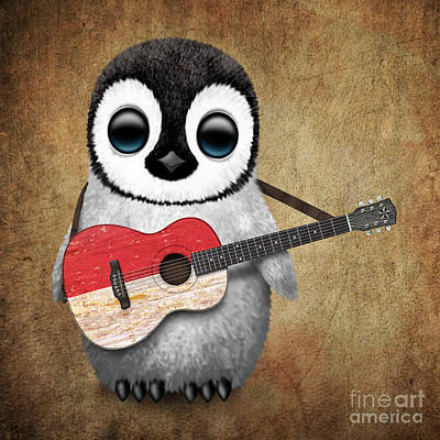 Jeff Digital Art - Baby Penguin Playing Indonesian Flag Guitar by Jeff Bartels